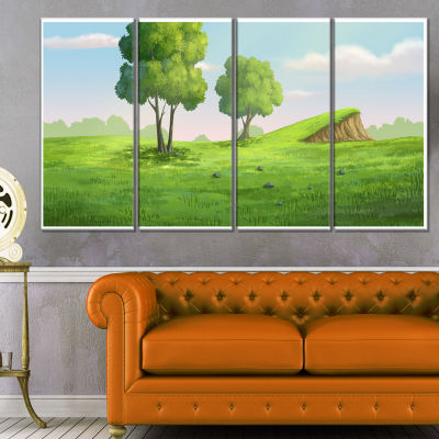 Designart Green Garden With Mound And Trees Oversized Landscape Wall Art Print - 4 Panels
