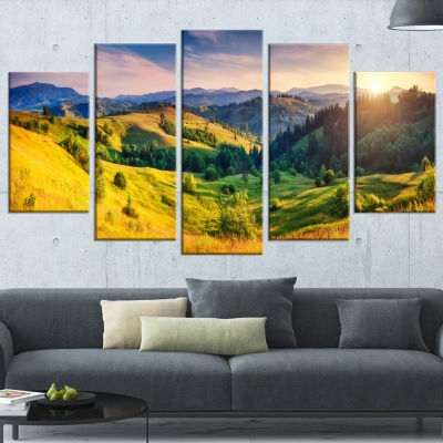 Green Hills Glowing By Sunlight Landscape WrappedCanvas Art Print - 5 Panels
