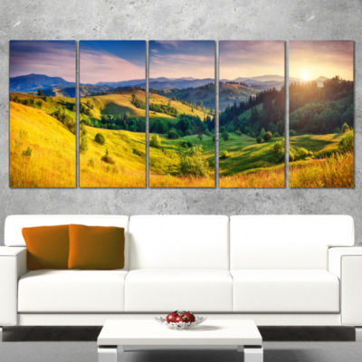 Green Hills Glowing By Sunlight Landscape Canvas Art Print - 5 Panels