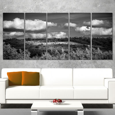Designart Green Hills Under Cloudy Sky Extra LargeWrapped Wall Art Landscape - 5 Panels