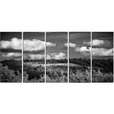 Designart Green Hills Under Cloudy Sky Extra LargeWall ArtLandscape - 5 Panels
