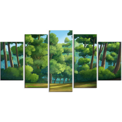 Green Jungle With Dense Trees Oversized LandscapeWrapped Wall Art Print - 5 Panels
