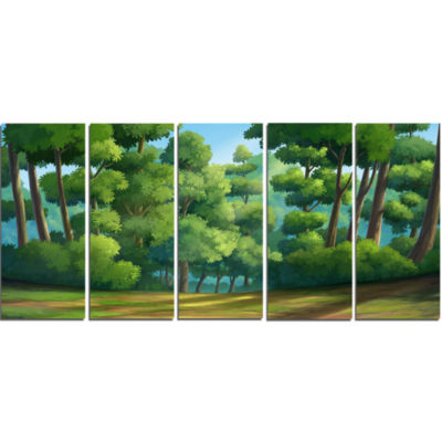 Green Jungle With Dense Trees Oversized LandscapeWall Art Print - 5 Panels