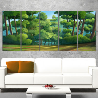 Designart Green Jungle With Dense Trees OversizedLandscapeWall Art Print - 5 Panels