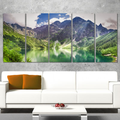 Green Lake In Mountains Panorama Landscape CanvasArt Print - 4 Panels