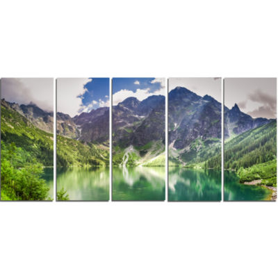 Green Lake In Mountains Panorama Landscape CanvasArt Print - 5 Panels