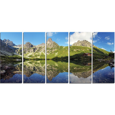 Designart Green Lake In Tatra Mountain Landscape Photo Canvas Art Print - 4 Panels