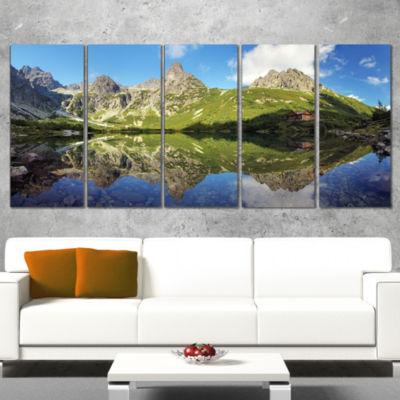 Designart Green Lake In Tatra Mountain Landscape Photo Canvas Art Print - 4 Panels