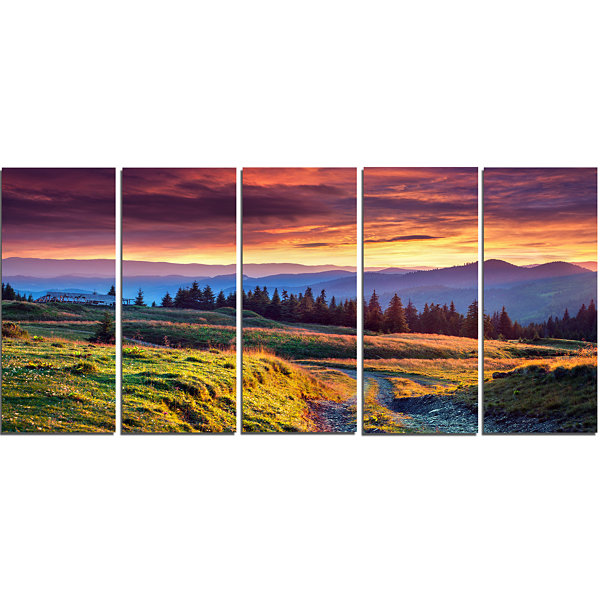 Designart Green Land Under Overcast Sky LandscapePhotography Canvas Print - 5 Panels