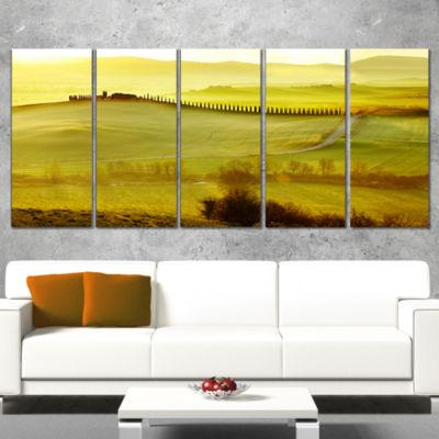 Designart Green Landscape And Rural Road Italy Landscape Print Wall Artwork - 5 Panels