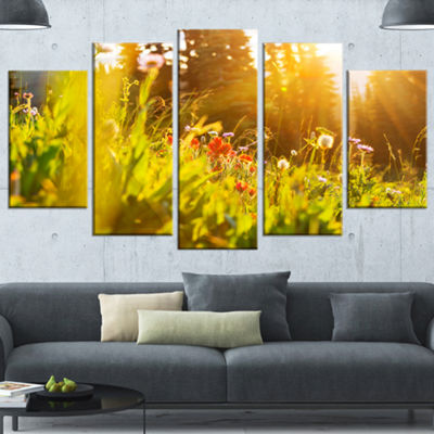Designart Green Meadow With Summer Flowers Large Flower Wrapped Canvas Wall Art - 5 Panels