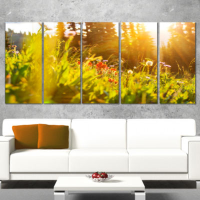 Green Meadow With Summer Flowers Large Flower Wrapped Canvas Wall Art - 5 Panels