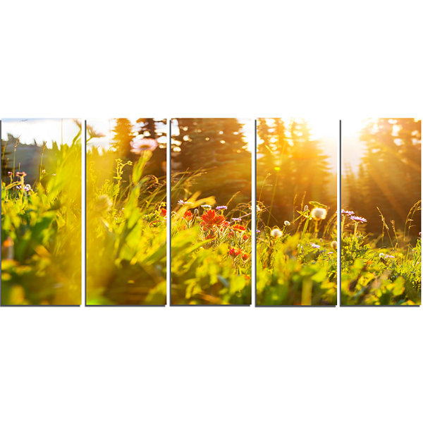 Designart Green Meadow With Summer Flowers Large Flower Canvas Wall Art - 5 Panels