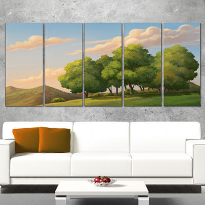 Designart Green Mounds With Green Trees OversizedLandscapeWall Art Print - 4 Panels