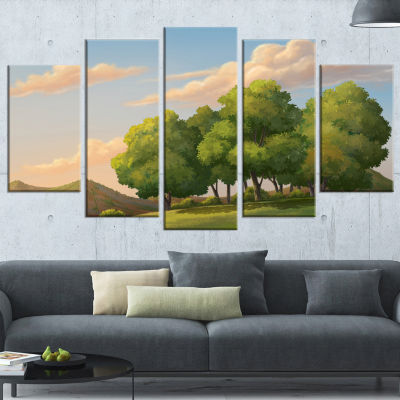 Green Mounds With Green Trees Oversized LandscapeWrapped Wall Art Print - 5 Panels