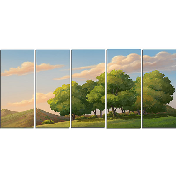 Designart Green Mounds With Green Trees OversizedLandscapeWall Art Print - 5 Panels