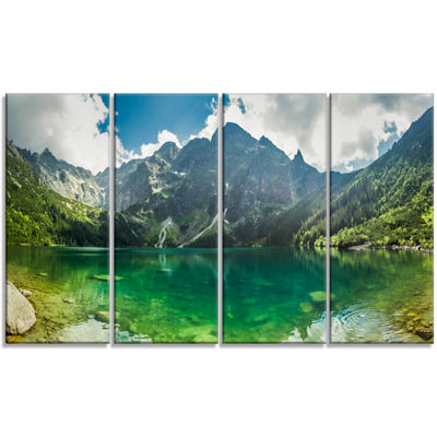 Designart Green Mountain Lake At Tatras LandscapeCanvas ArtPrint - 4 Panels