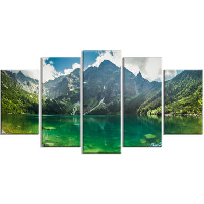 Green Mountain Lake At Tatras Landscape Wrapped Canvas Art Print - 5 Panels