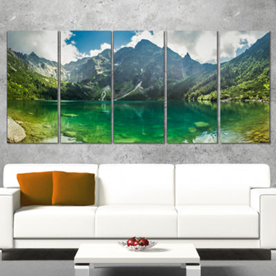Designart Green Mountain Lake At Tatras LandscapeWrapped Canvas Art Print - 5 Panels