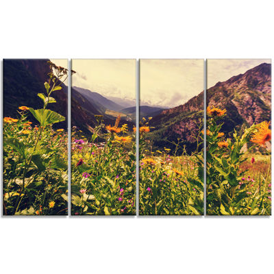 Designart Green Mountain Meadow With Flowers LargeFlower Canvas Wall Art - 4 Panels