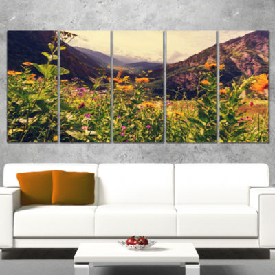 Designart Green Mountain Meadow With Flowers LargeFlower Wrapped Canvas Wall Art - 5 Panels