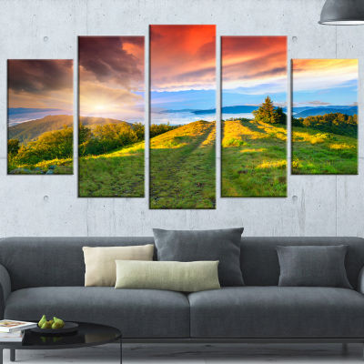 Designart Green Mountains And Red Clouds LandscapePhotography Canvas Print - 4 Panels