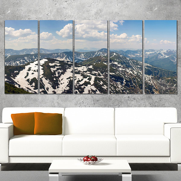 Designart Green Mountains In Spring Panorama Landscape Artwork Canvas - 4 Panels