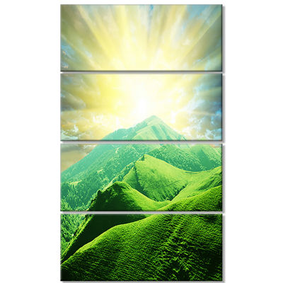 Designart Green Mountains Under Sun Landscape Canvas Art Print - 4 Panels