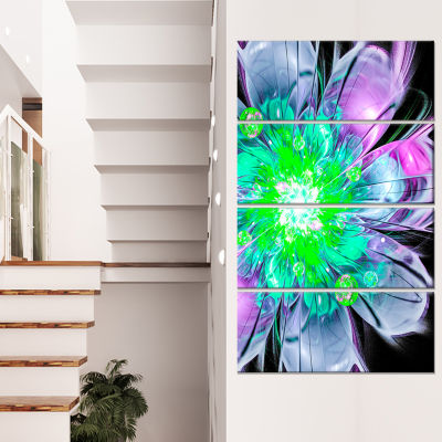 Designart Green Purple Fractal Flower Petals CloseUp FloralCanvas Art Print - 4 Panels