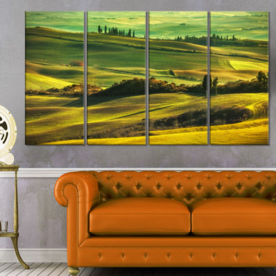 Designart Green Rolling Hills On Misty Sunset Oversized Landscape Wall Art Print - 4 Panels