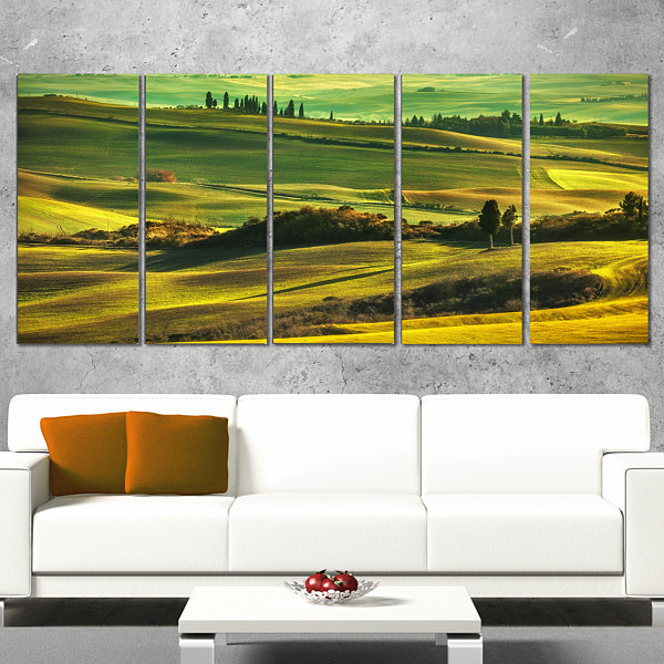 Designart Green Rolling Hills On Misty Sunset Oversized Landscape Wrapped Wall Art Print - 5 Panels