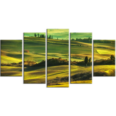 Green Rolling Hills On Misty Sunset Oversized Landscape Wrapped Wall Art Print - 5 Panels