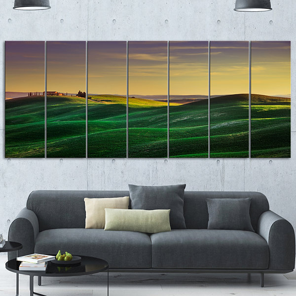 Designart Green Rolling Hils In Crete Senesi Landscape Canvas Wall Art - 4 Panels
