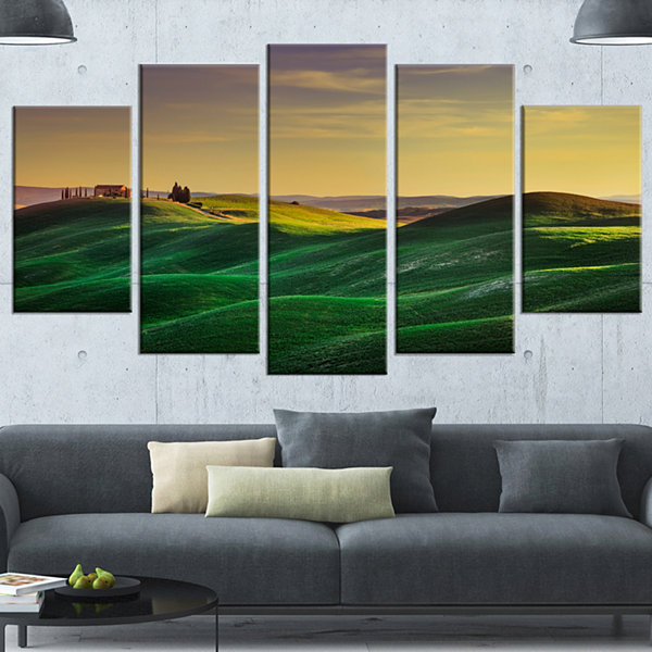 Designart Green Rolling Hils In Crete Senesi Landscape Wrapped Canvas Wall Art - 5 Panels