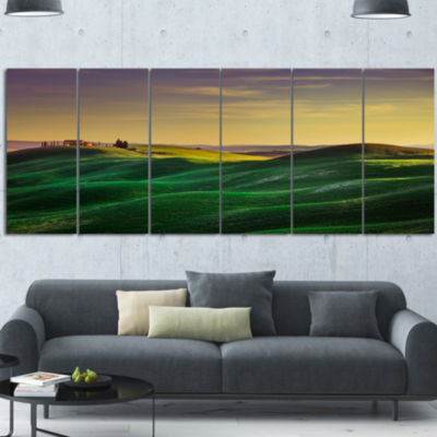 Green Rolling Hils In Crete Senesi Landscape Canvas Wall Art 6 Panels