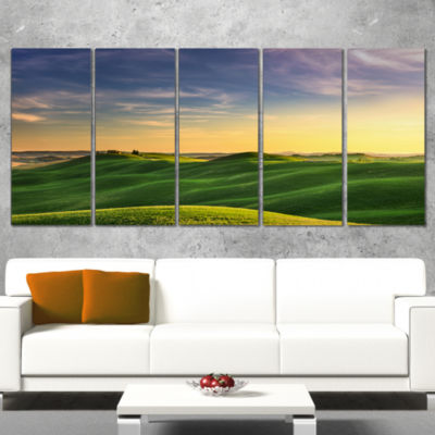 Designart Green Rural Rolling Hills Tuscany Oversized Landscape Wrapped Wall Art Print - 5 Panels