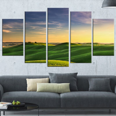 Designart Green Rural Rolling Hills Tuscany Oversized Landscape Wrapped Wall Art Print - 5 Panels