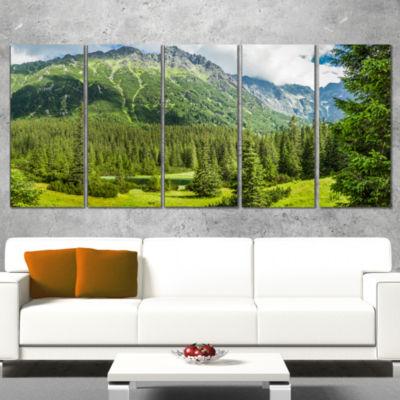Designart Green Small Lake Panoramic View Landscape Canvas Art Print - 4 Panels