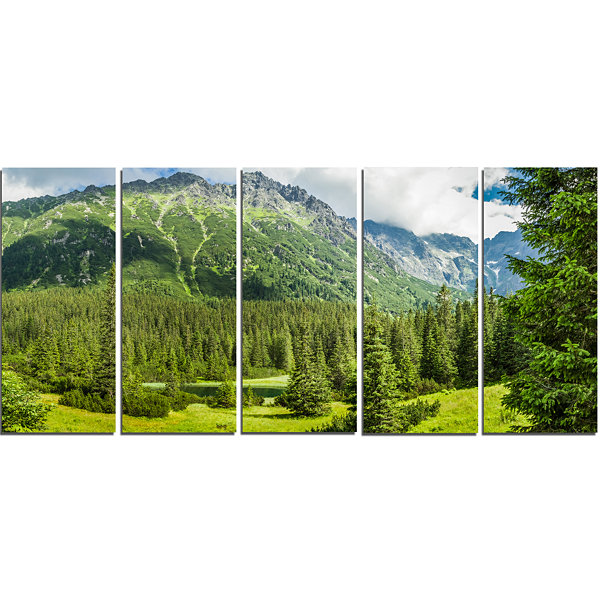 Designart Green Small Lake Panoramic View Landscape Canvas Art Print - 5 Panels