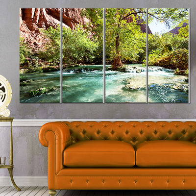 Designart Green Spring Creek In Mountains Landscape Wall ArtOn Canvas - 4 Panels