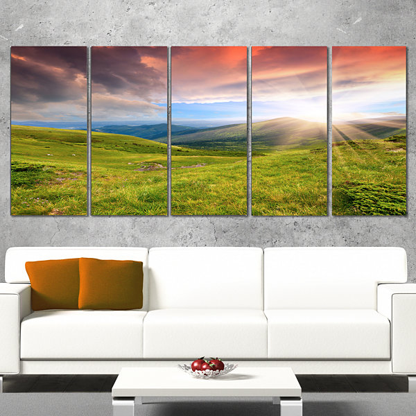 Designart Green Summer In Carpathians Landscape Photo CanvasArt Print - 4 Panels