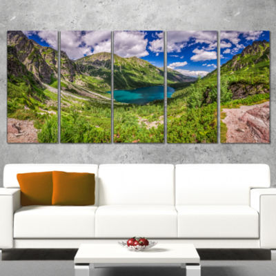Designart Green Tatra Mountains And Lake LandscapeWrapped Canvas Art Print - 5 Panels