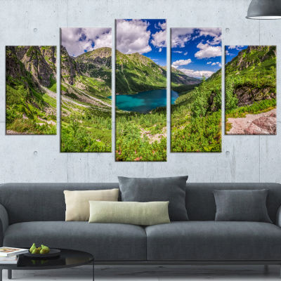 Green Tatra Mountains And Lake Landscape Wrapped Canvas Art Print - 5 Panels