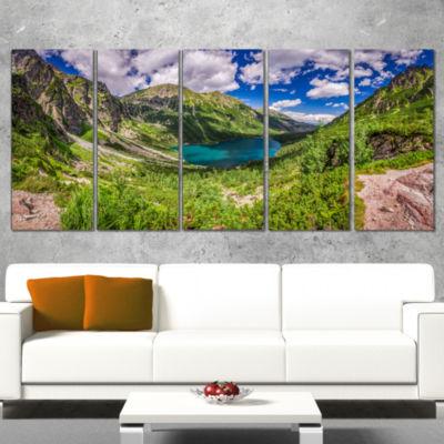 Designart Green Tatra Mountains And Lake LandscapeCanvas Art Print - 5 Panels
