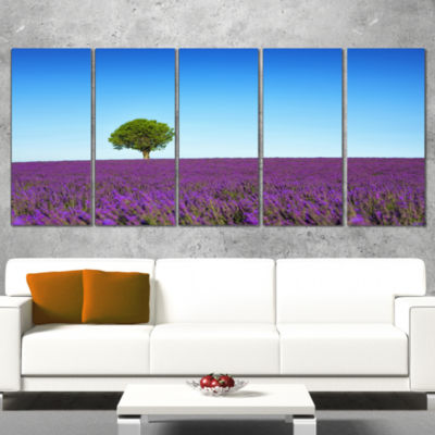 Designart Green Tree Among Lavender Flowers Oversized Landscape Wall Art Print - 4 Panels