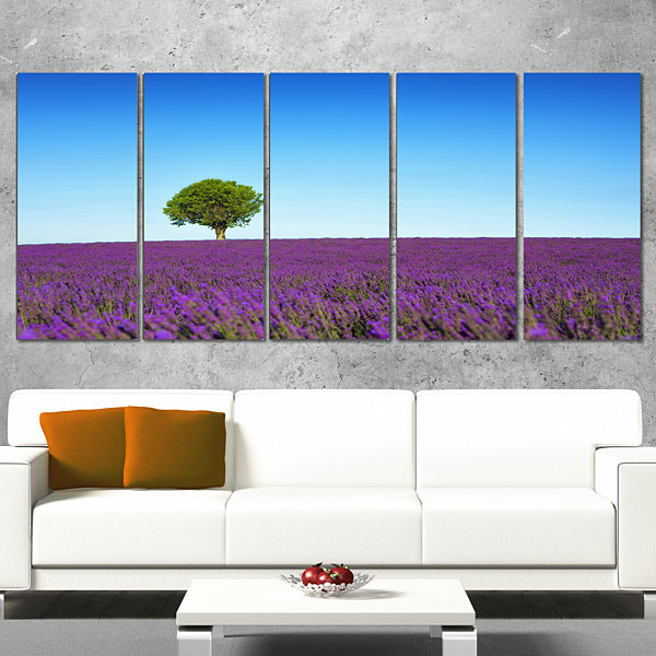 Designart Green Tree Among Lavender Flowers Oversized Landscape Wrapped Wall Art Print - 5 Panels