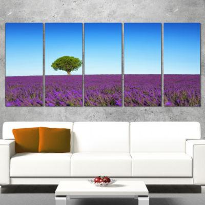 Green Tree Among Lavender Flowers Oversized Landscape Wall Art Print - 5 Panels
