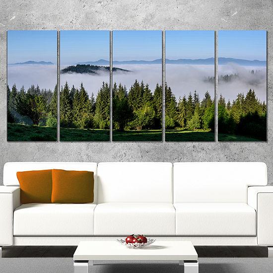 Designart Green Trees And Fog Over Mountains Landscape Canvas Art Print - 4 Panels