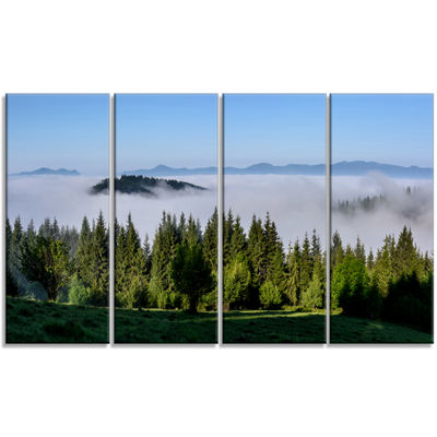 Designart Green Trees And Fog Over Mountains Landscape Canvas Art Print - 4 Panels
