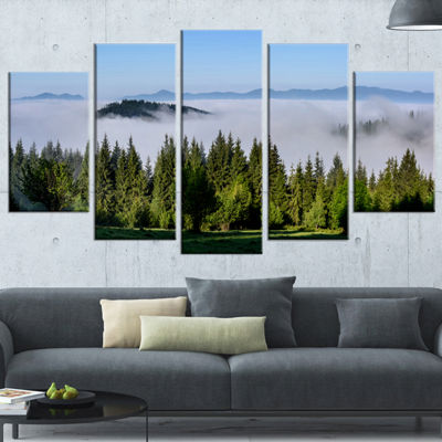 Designart Green Trees And Fog Over Mountains Landscape Wrapped Canvas Art Print - 5 Panels